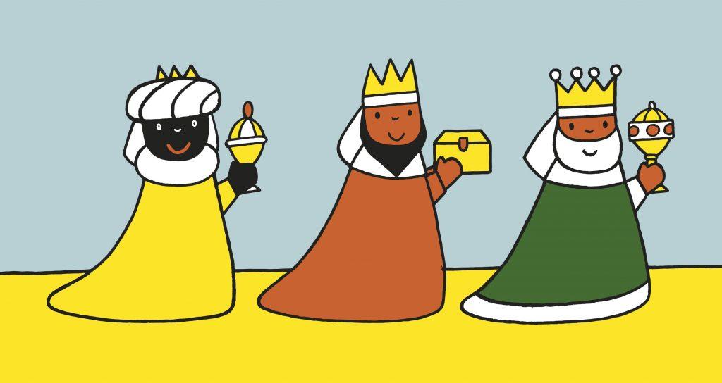 Tekening van de drie koningen uit het Nijntje Kerstboek.